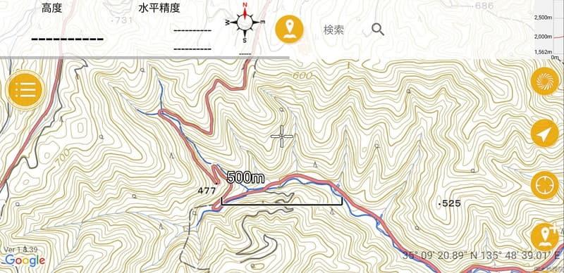 国道477号 小出石バイパス 地形図